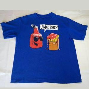U Mad Bro? Kids Blue T Graphic T Shirt Funny Boys